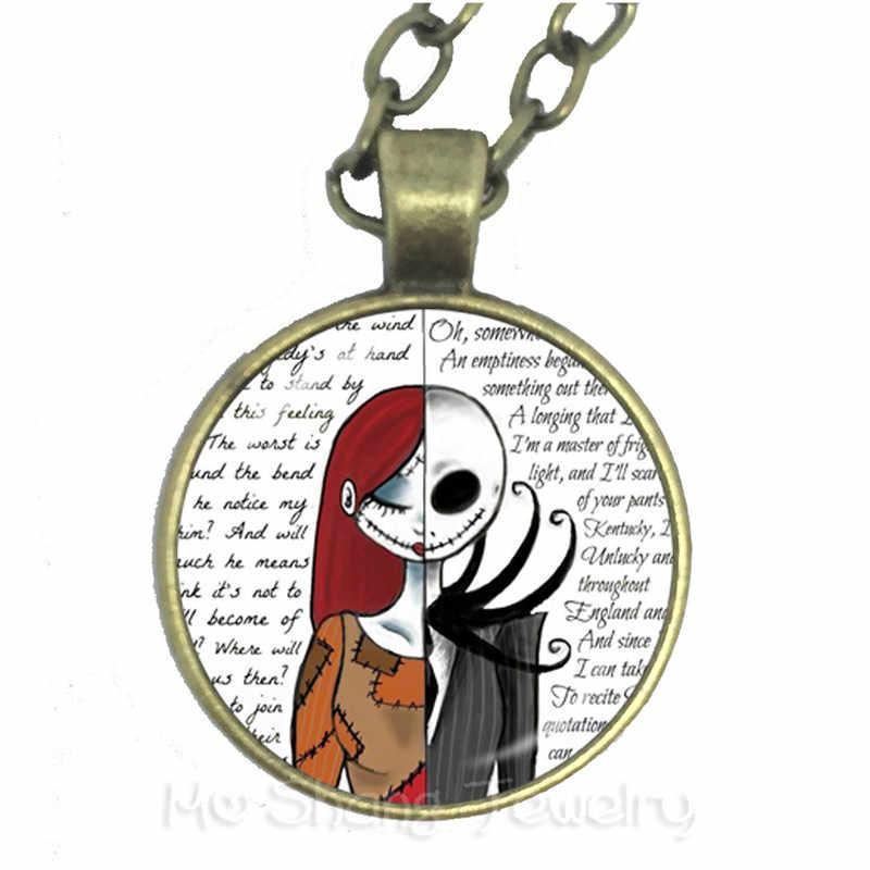 2018 nowy Jack Skellington i Sally naszyjnik kaboszonowy Charms Halloween Party biżuteria sweter łańcucha prezent dla mężczyzn dla kobiet dzieci