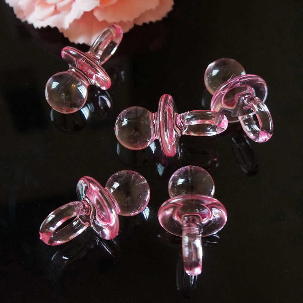 Nowy 20 sztuk/zestaw różowy niebieski Mini smoczki dla dziewczyny Baby Shower Party Favor ciasto dziewczyna chłopiec Party gry dekoracji hurtownia