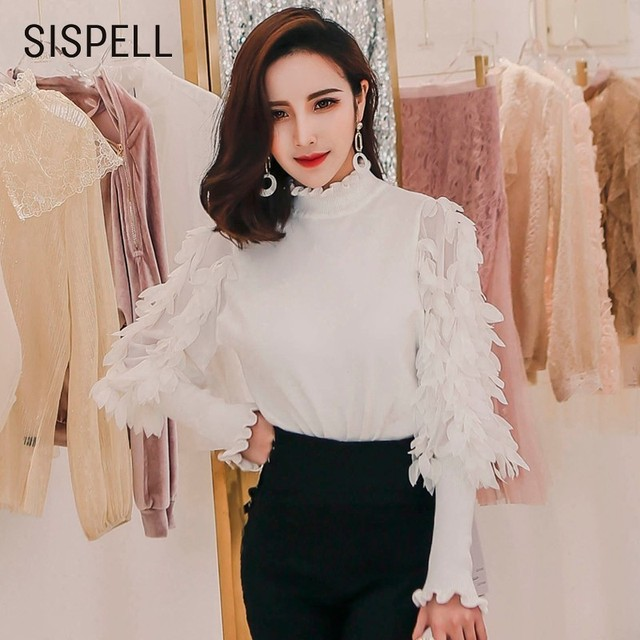 be2b12ce1e38 SISPELL Petal Feminine Blouse Chiffon Patchwork Lace Up Turtleneck Women s  Shirts Lantern Sleeve Tops 2018 Korean
