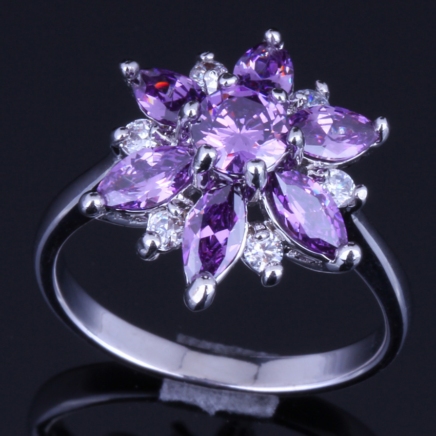 Silky Star Purple Cubic Zirconia White CZ 925 Sterling Silver Ring For Women V0141