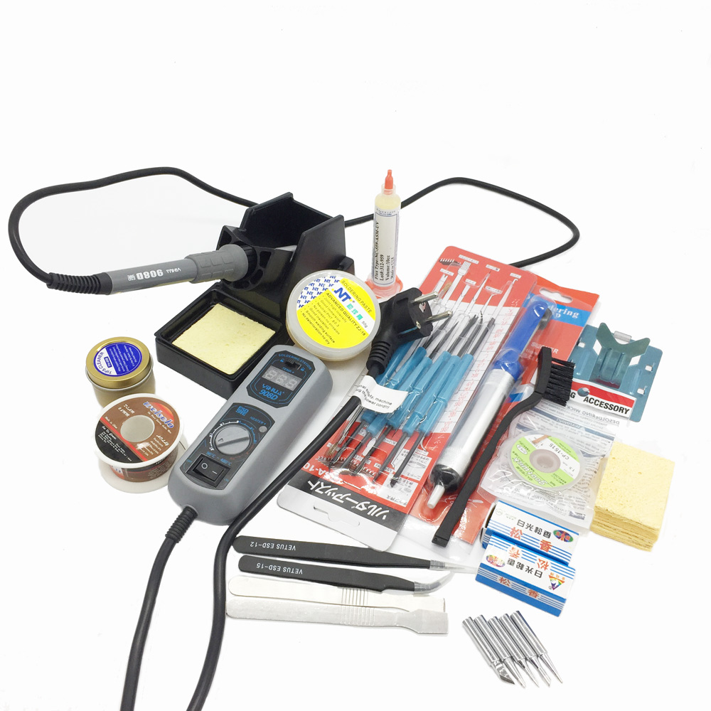 Original 220V/110V YIHUA 908D Soldering Iron Temperature Adjustable Electric Welding Soldering Iron +5tips+stand+tweezers+sponge elecall 50pcs set high temperature enduring square shape electric welding soldering iron cleaning sponge yellow hot new arrival