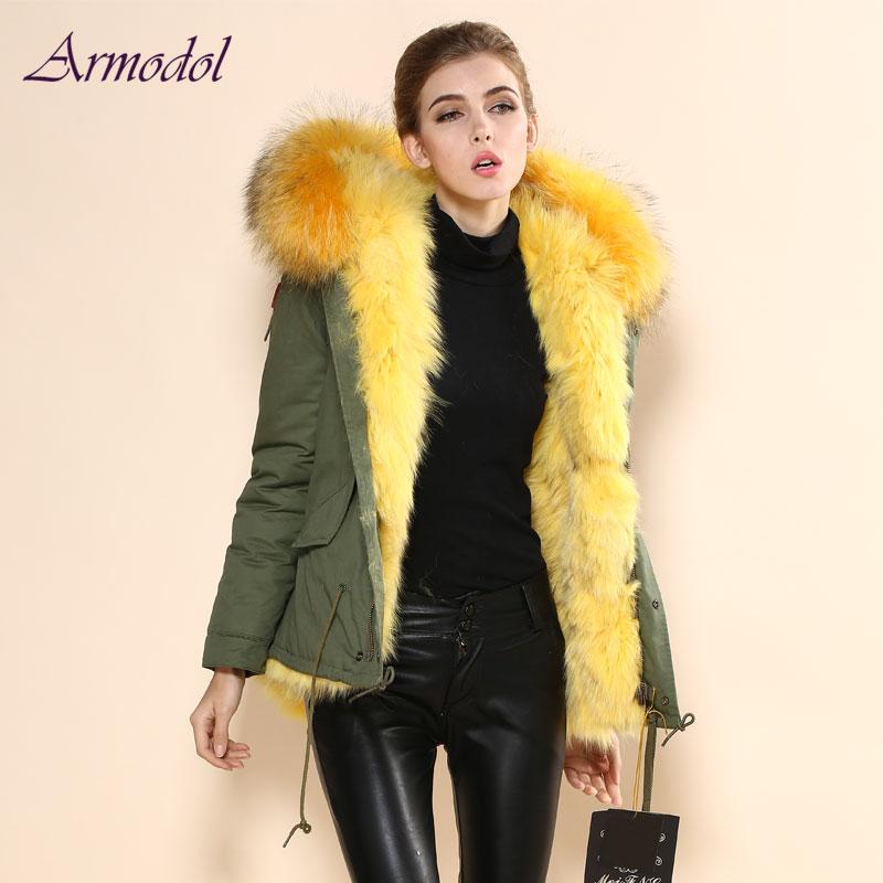 Fashion Winter Fur Jacket Yellow Real Fox Fur Jacket With Big Raccoon Hood Windcoat Factory Free shipping