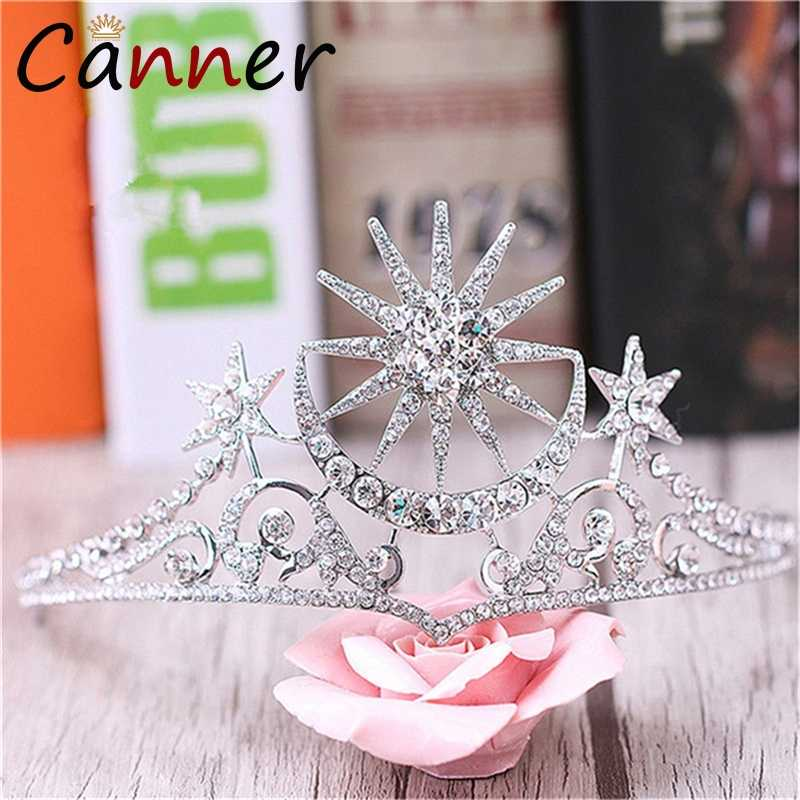 CANNER แฟชั่นคริสตัล Tiaras และ Crowns แต่งงานอุปกรณ์เสริมผม Moon Star Princess/เจ้าสาวมงกุฎเงินเครื่องประดับผมมงกุฎ FI