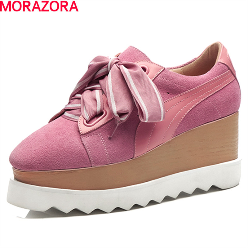 MORAZORA hot sale women shoes low heel platform shoes wedges square toe fashion shoes lace up sweet leisure big size 33-43 europe america fashion star cutout lace up high heel shoes for women square toe platform wedges brogue oxford casual shoes us 10