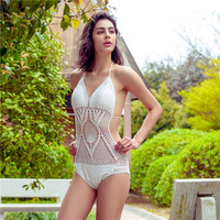 2017Women Swimsuit Sets Handmade Crochet Knitting Halter Hollow Out Swimming Sets One Piece Suit Retro Style