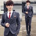 jacket + pants / Men clothing of fashion boutique high-end brand thin grid Business suits / Mens Suits Men's wedding dress Suits