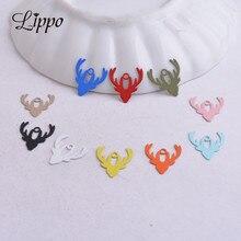Jewelry-Findings Painted-Pendants Charms Animals Elk Diy AC9510 100pcs 12mm--13mm Head-Shape