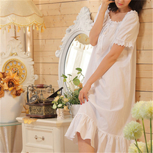 2018 Brand New Sleep Lounge Women Sleepwear Cotton Nightgowns Sexy Long Maxi Robe Home Dress White Nightdress Plus Size #P110