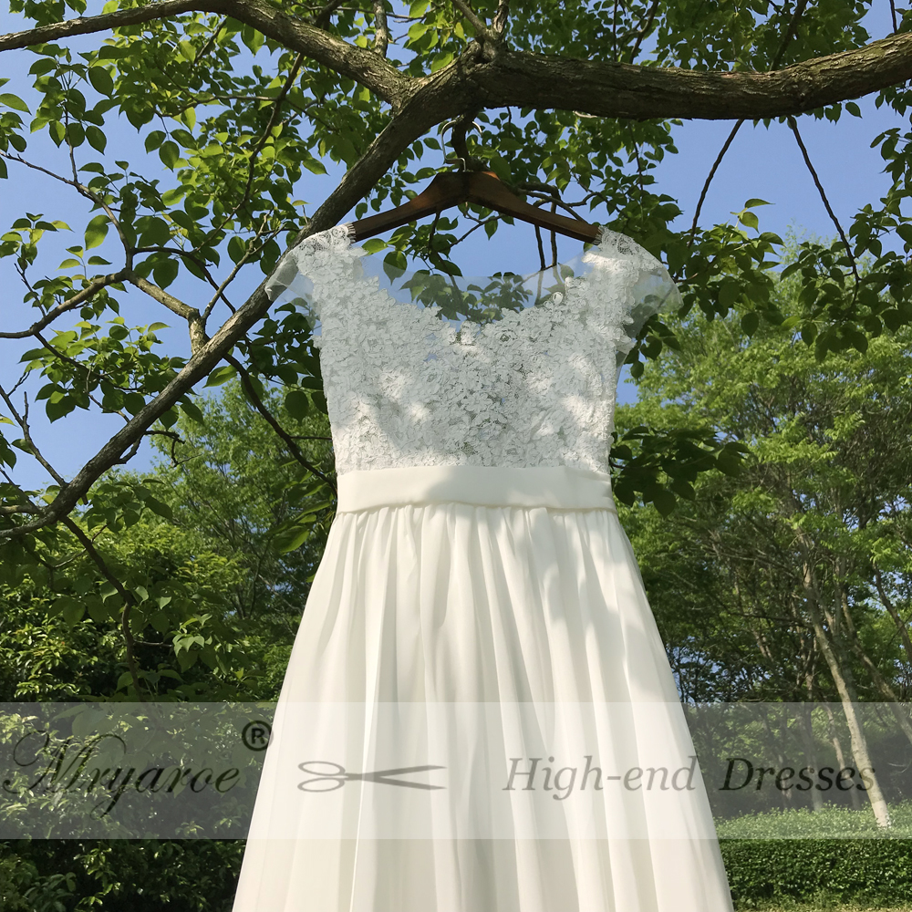 Mryarce Sexy Backless Beach Wedding Dress With Cap Sleeves Sheer Bodice Lace  Chiffon A Line Bridal Gowns -in Wedding Dresses from Weddings   Events on  ... 50a09647c659