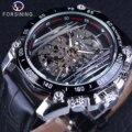 Механические часы Forsining в стиле стимпанк  мужские часы в стиле милитари  спортивные Серебристые часы с прозрачным скелетом  автоматические ...