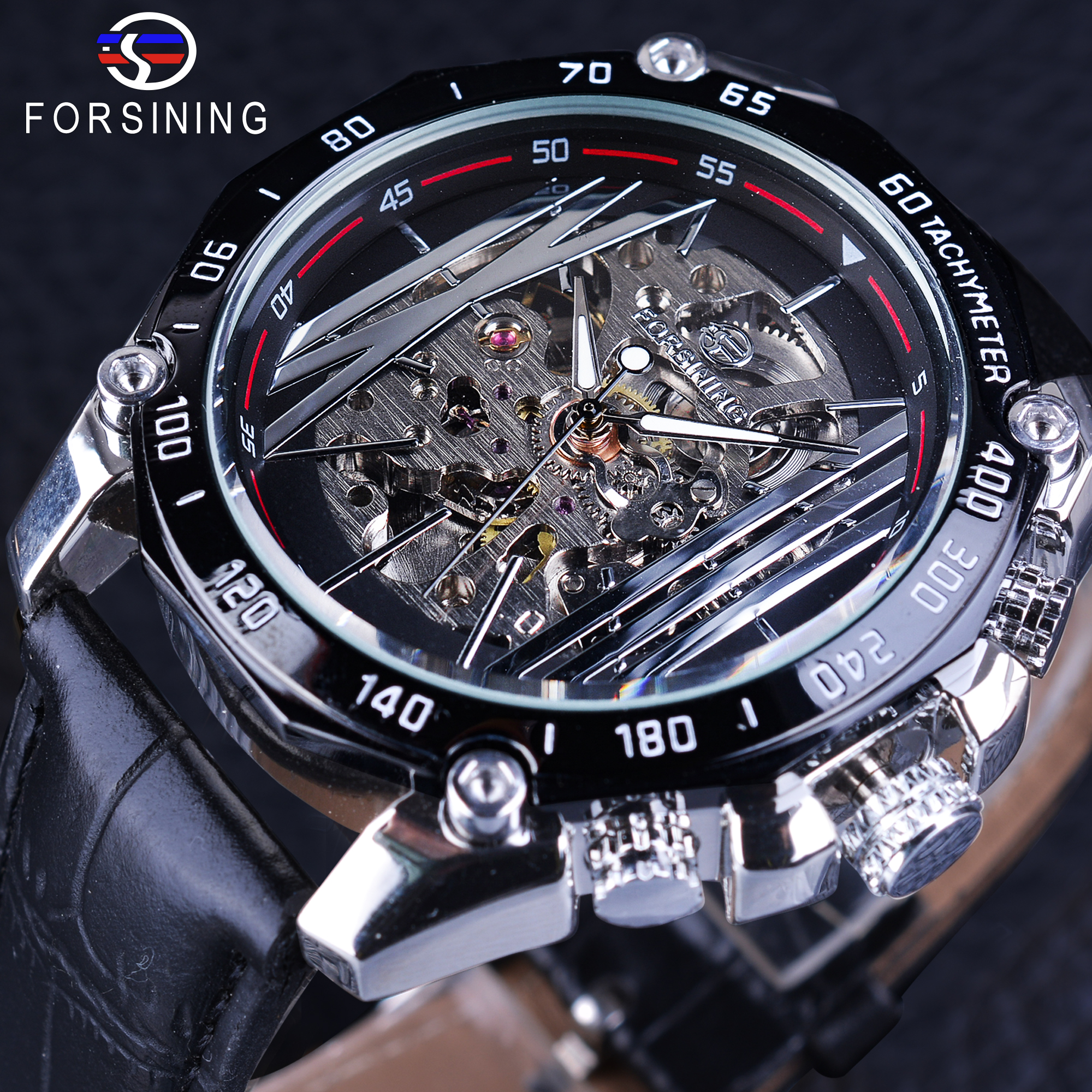 Forsining Mechanical Steampunk Wristwatch Men Military Sport Watch Silver Transparent Skeleton Automatic Creative Watch Clock forsining golden stainless steel sport watch steampunk men watch luminous openwork mechanical watches folding clasp with safety