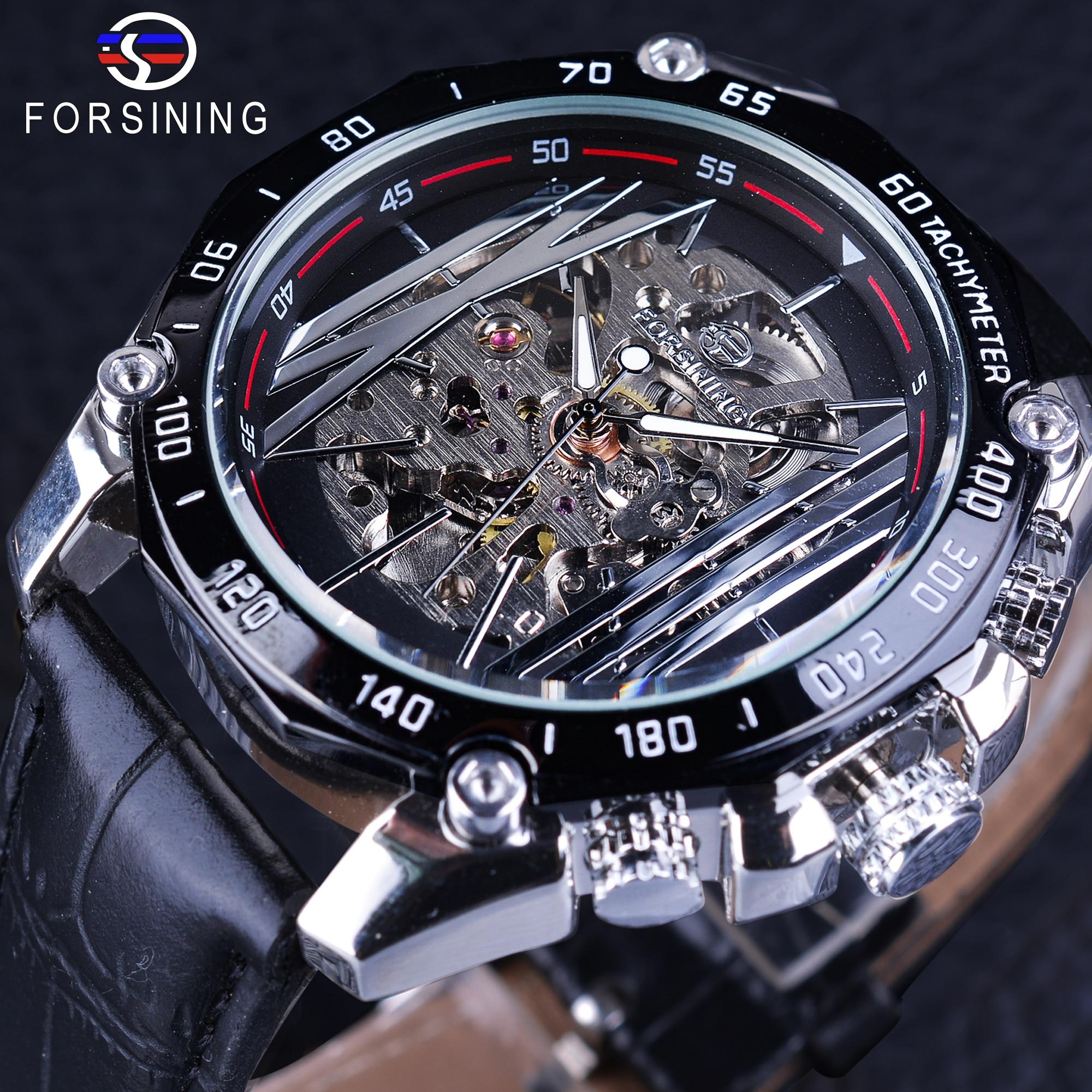 Forsining Mechanical Steampunk Wristwatch Men Military Sport Watch Silver Transparent Skeleton Automatic Creative Watch Clock
