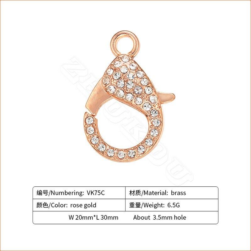 ZHUKOU 20x30 мм металлическими элементами и стразами Омаров застежки крючки для изготовление, поиск ювелирных изделий DIY Цепочки и ожерелья Модель: VK75 отверстие: 3,5 мм - Цвет: rose gold