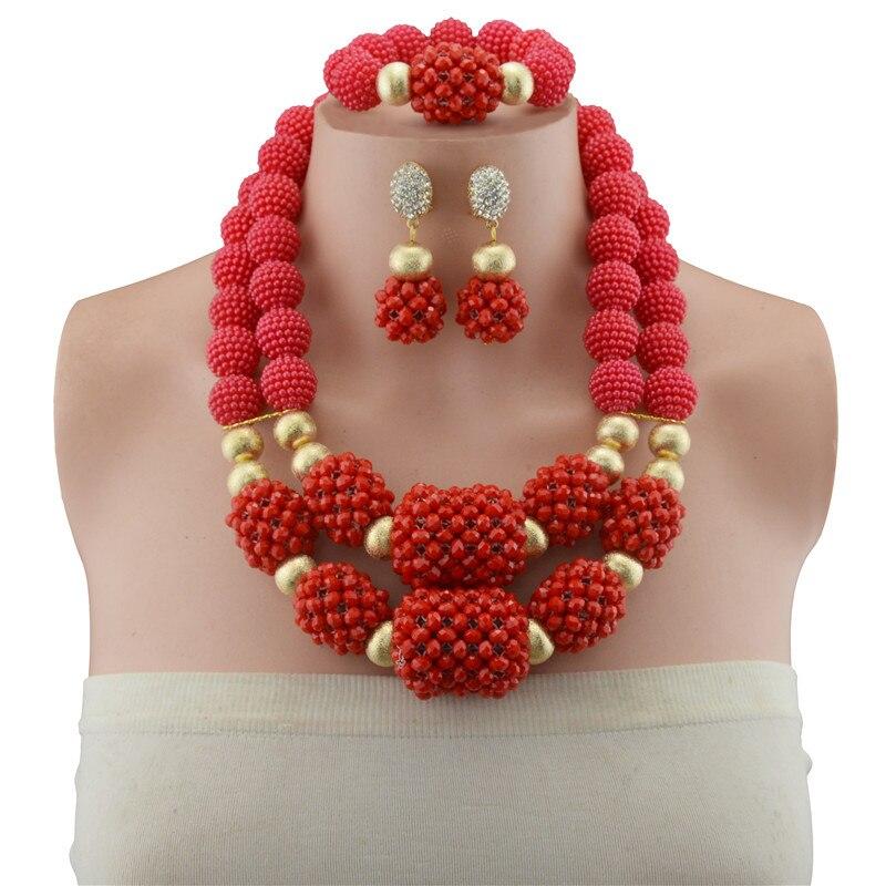Ensembles de bijoux femmes de luxe perles africaines ensemble de bijoux en perles de cristal ensemble de bijoux de mariage couleur or perles de cuivre bijoux éthiopiens