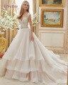 Loverxu Luxo Com Decote Em V Capela Trem Ruffles A Linha Vintage Vestido de Noiva 2016 Apliques de Cristal Beading Caixilhos Botão Vestidos de Noiva