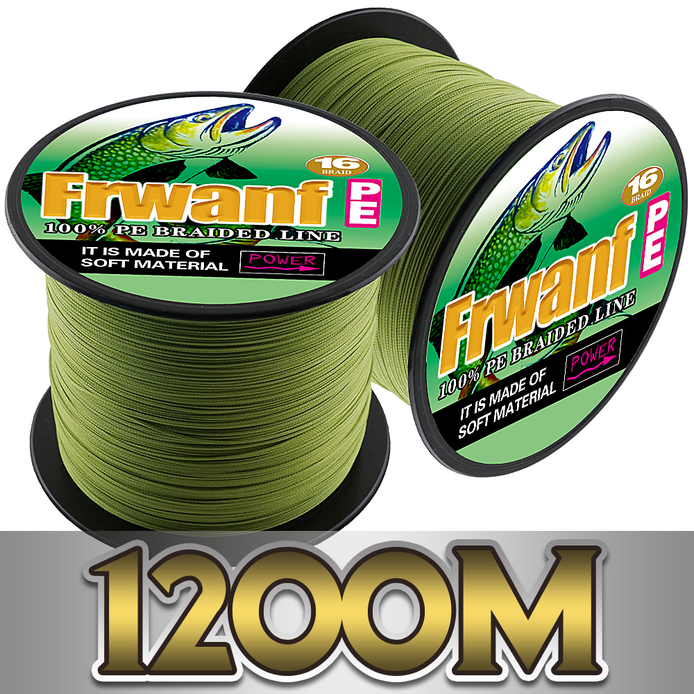 Frwanf Braided Fishing Line 16 Strands 1200m Braided Wire for Saltwater Bass Fishing Hollowcore Thread 20-300LB Moss Green
