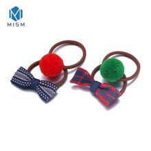 M MISM 1 Lot=4 PCS Lovely Rubber Band For Children Girls Bow-knot Pompom Stripes Lattice Scrunchies Kids Elastic Hair Bands(China)
