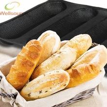 U-bahn Silform 10 zoll Baguette Backform 4 Formen Französisch brot Silikon 4 Loaf Baguette Backblech Perforierte Unter Rolle Pan