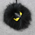 Real Raccon Fur PomPoms Little Monster Bag Charm Genuine  Brank Pompom Keychain Luxury Car Jewelry Pendant Gift Keychain K#2