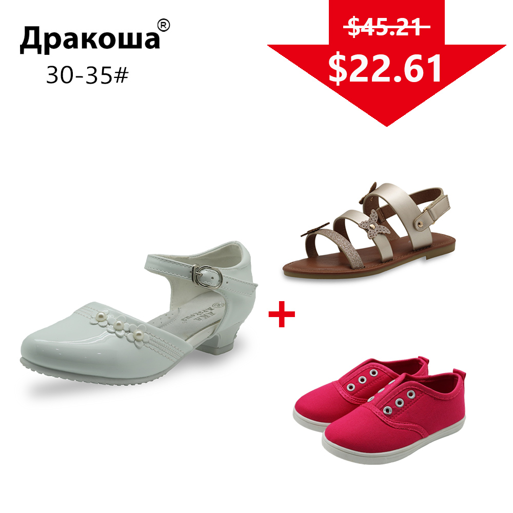 APAKOWA 3 Pairs Girls Summer Sandals Spring Autumn Casual Shoes Wedding Shoes Color Randomly Sent For One Package EU SIZE 30-35