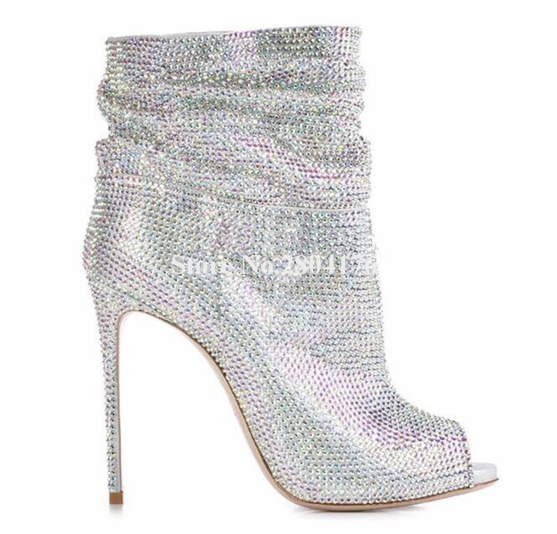Ladies Luxurious Peep Toe Bling Bling Rhinestone Thin Heel Short Boots Silver Gold Black Crystal High Heel Ankle Boots PartyLadies Luxurious Peep Toe Bling Bling Rhinestone Thin Heel Short Boots Silver Gold Black Crystal High Heel Ankle Boots Party