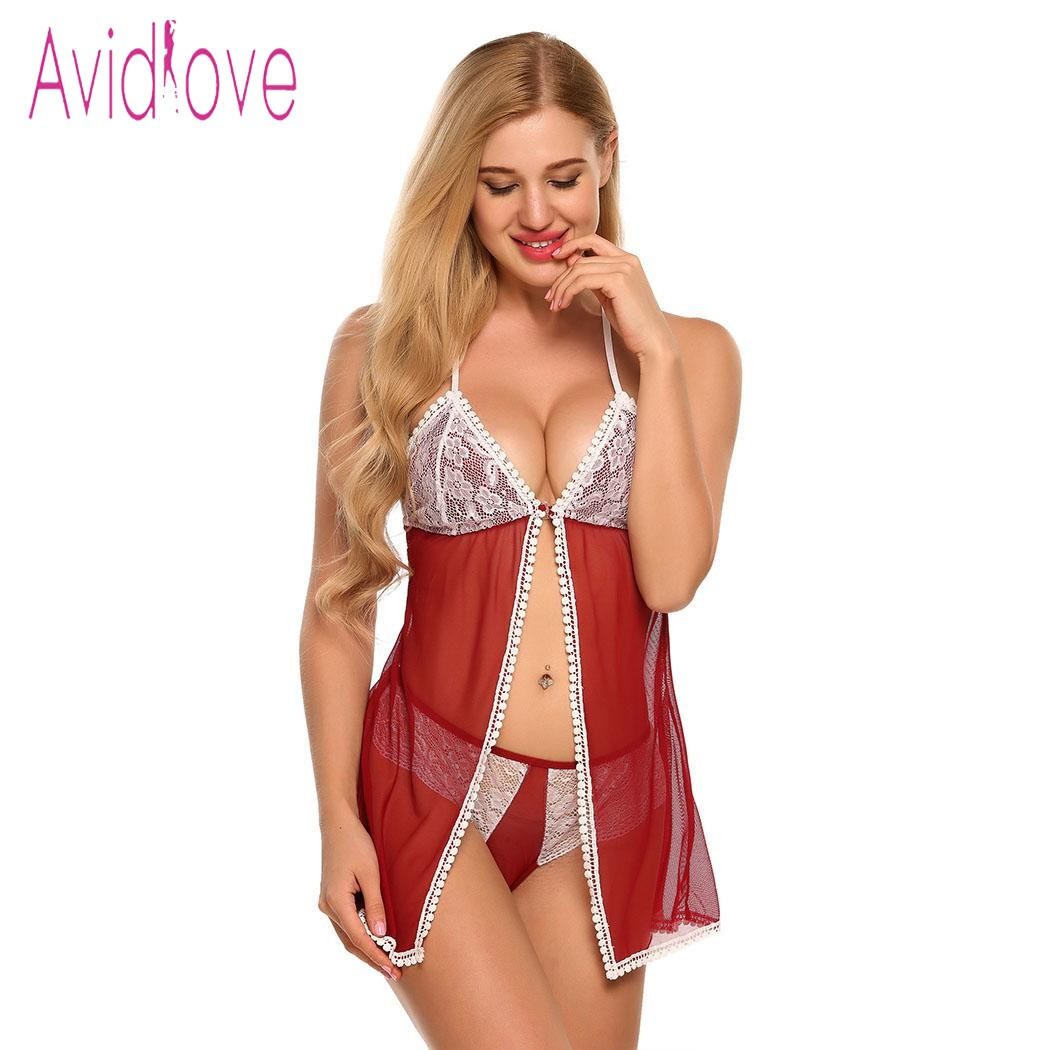 Avidlove Sexy Lingerie Sexy Hot Erotic Underwear Sleepwear Open Front Babydoll Dress and G-String Set Lady Sheer Lace Clothing