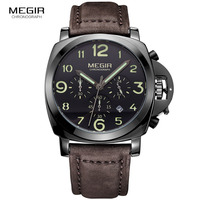 Megir Fashion Casual Top Brand Quartz Watches Men Leather Sports Watch Man Business Wrist Watch Male
