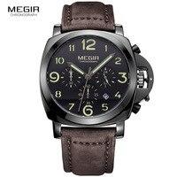 Megir 패션 캐주얼 최고 브랜드 석영 시계 남성