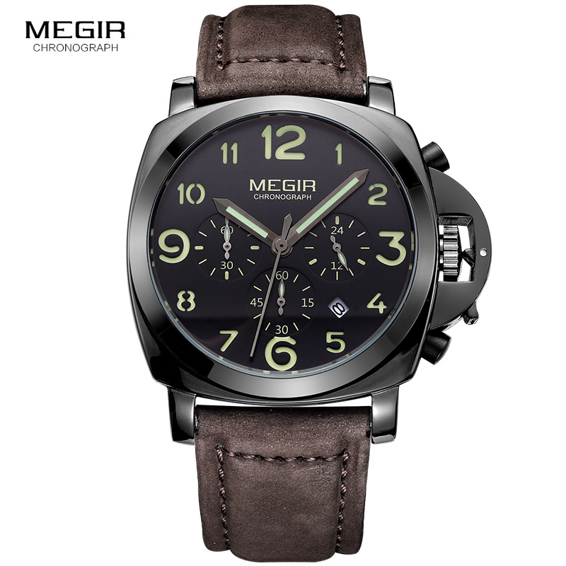 Megir fashion casual top brand quartz watches men leather sports watch man