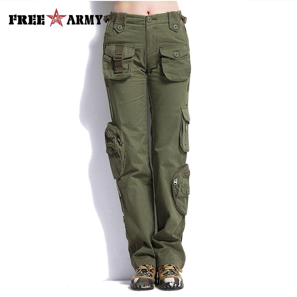 FREEARMY marque décontracté Cargo pantalon poches Couple pantalon coton unisexe militaire vert pantalon femme Capris & pantalon kaki 25-38