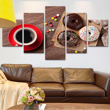 2cfd1f41e68f HD Printed Modern Wall Art Painting On Canvas 5 Panel Donuts Coffee Modular  Picture Home Decoration Posters Frame Living Room