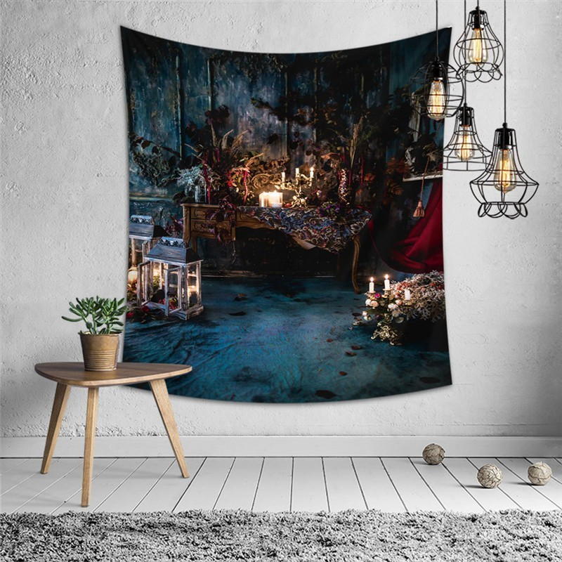 Horror Wall Tapestry Pumpkin Tomb Skull Printed Halloween Psychedelic Tapestry Wall Hanging Fabric Mandala Wall Carpet Blanket in Tapestry from Home Garden