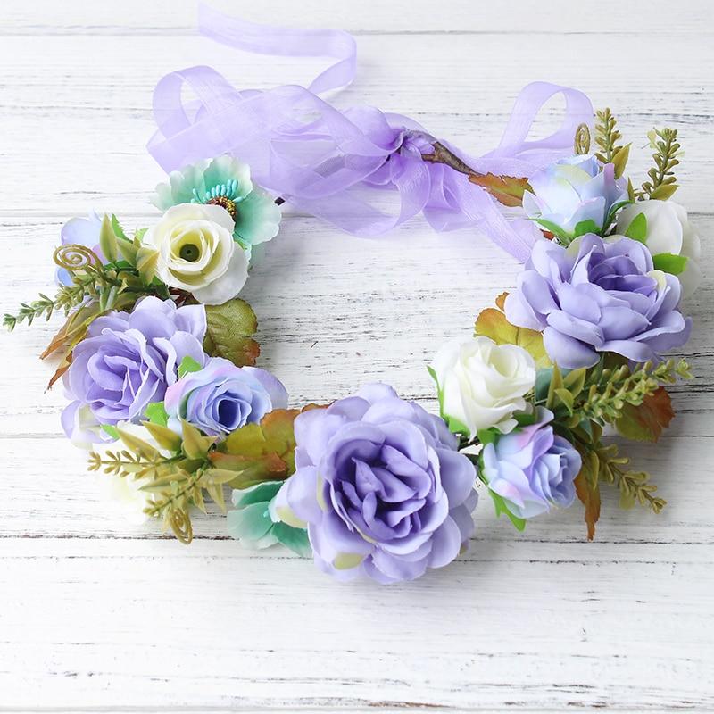 προσομοίωση πένες λουλούδι στεφάνι στεφάνι γυναικών γυναικών Ραντάν προσομοίωση λουλούδι κεφάλι φεστιβάλ γάμου Κορδέλα Ρυθμιζόμενη κορώνα λουλουδιών κορίτσι