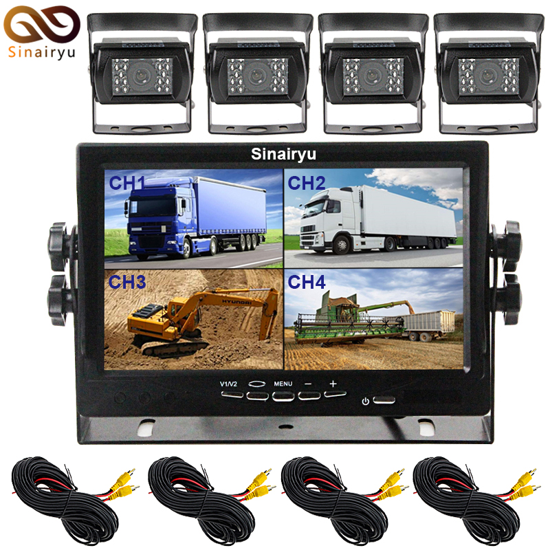 Sinairyu Backup Camera Wired 7 Inch Split Quad Monitor and Camera Kit For Truck/Semi-Trailer/Box Truck/RVTrailer/Bus/Tractor 1 14 tamiya semi container trailer