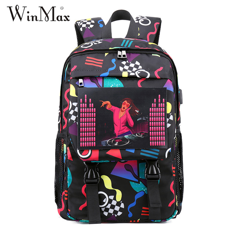 Colorful Voice Control Luminous Backpack USB Charging School Laptop Graffiti Knapsack Female Travel Daily Mochila Bolsas Unisex
