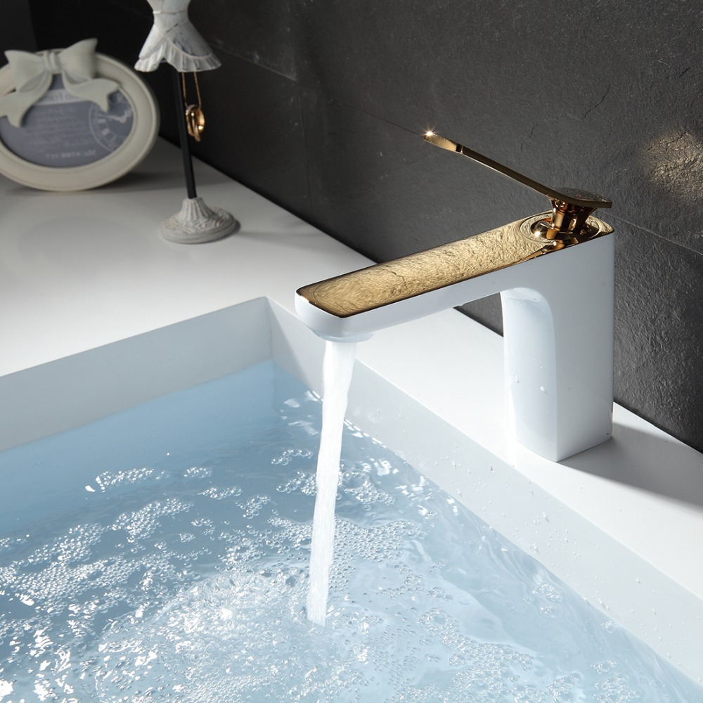 ФОТО FLG Basin Faucet Gold Plated&Grilled White Painted Deck Mounted Vintage Sink Water Mixer Faucets Bathroom Taps,Free ShippingM257