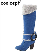Ladies Thickened Fur Over Knees High Heel Boots Russia Winter Warm Boot Fashion Shoes  Woman Botas Long Footwear Size 34-43