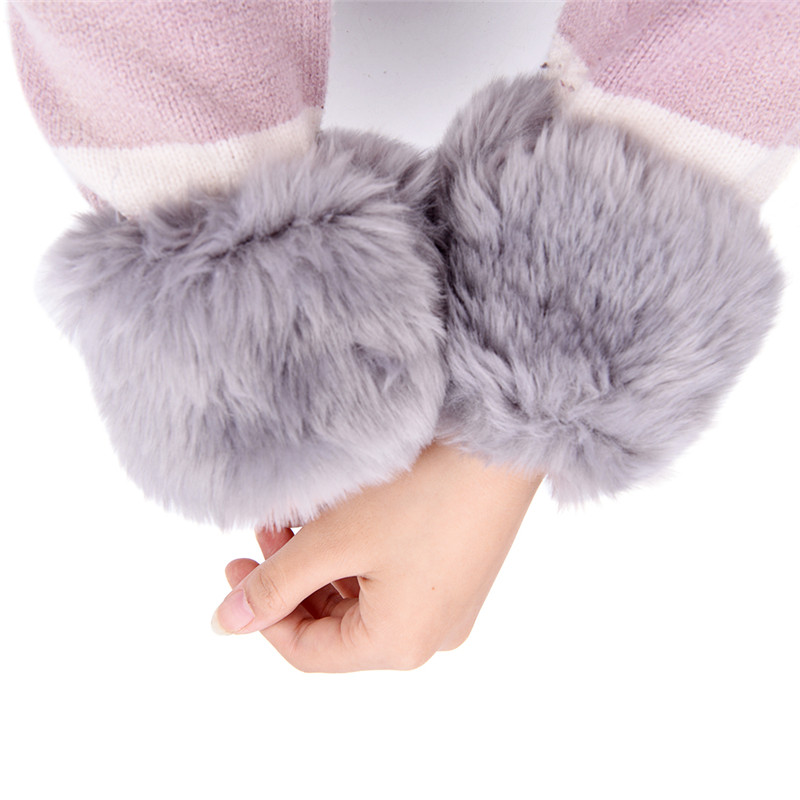 1 Para Frauen Winter Wrist Wärmer Oversleeve Faux Pelz Winddicht Arm Armband Armbänder Arm Ärmel 6 Farben