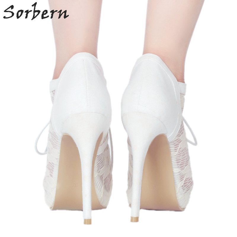 Sorbern White Lace Women Pumps Lace-Up Peep Toe Platform Shoes Ladies Stiletto Shoes Comfortable Women Shoes Women Shoes Pumps