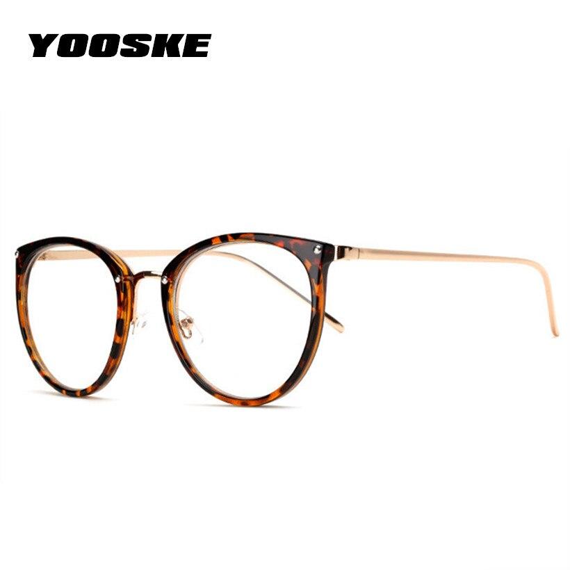YOOSKE Fashion Cat Eye Glasses Women Optical Spectacle Frames Retro Metal Frame Oversized Eyeglass Transparent Plain Eyewear