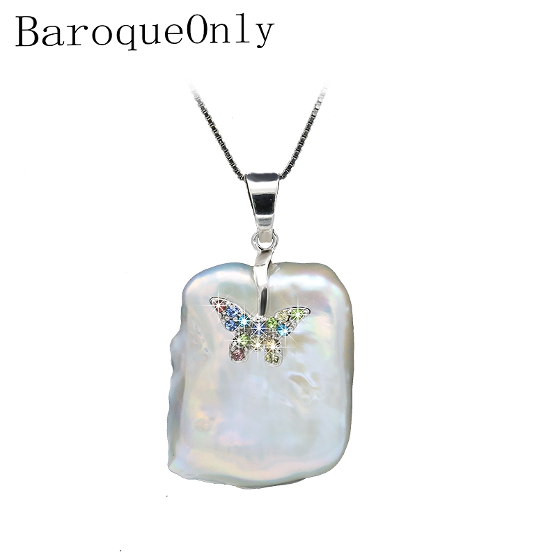 BaroqueOnly baroque natural freshwater pearl pendant necklace AAA Zircon Jewelry Diamond encrusted silver butterfly design PJ