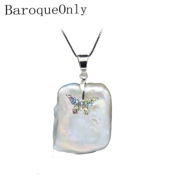 9e2e90425d51 BaroqueOnly barroca natural agua dulce perla colgante collar AAA zirconia  joyería diamante-incrustada plata mariposa diseño PJ