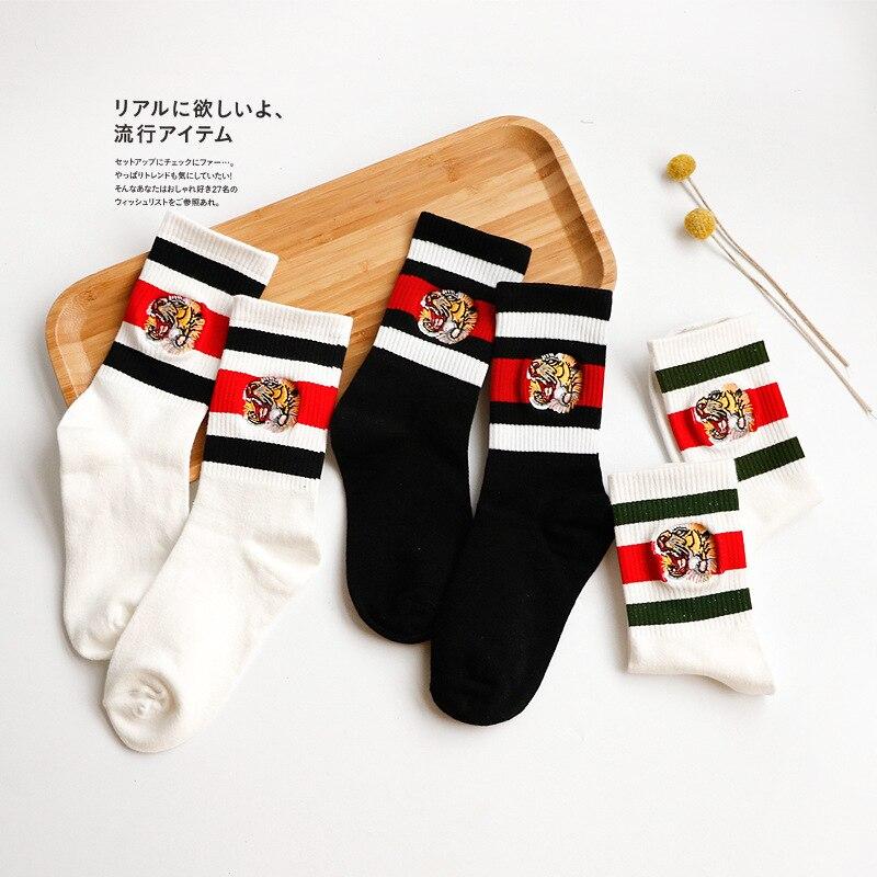 New 5pair Men Women  Stripes Cotton Socks Retro Casual Boys Girl Tiger embroidery pattern  Socks All-Match Socks hockey sock