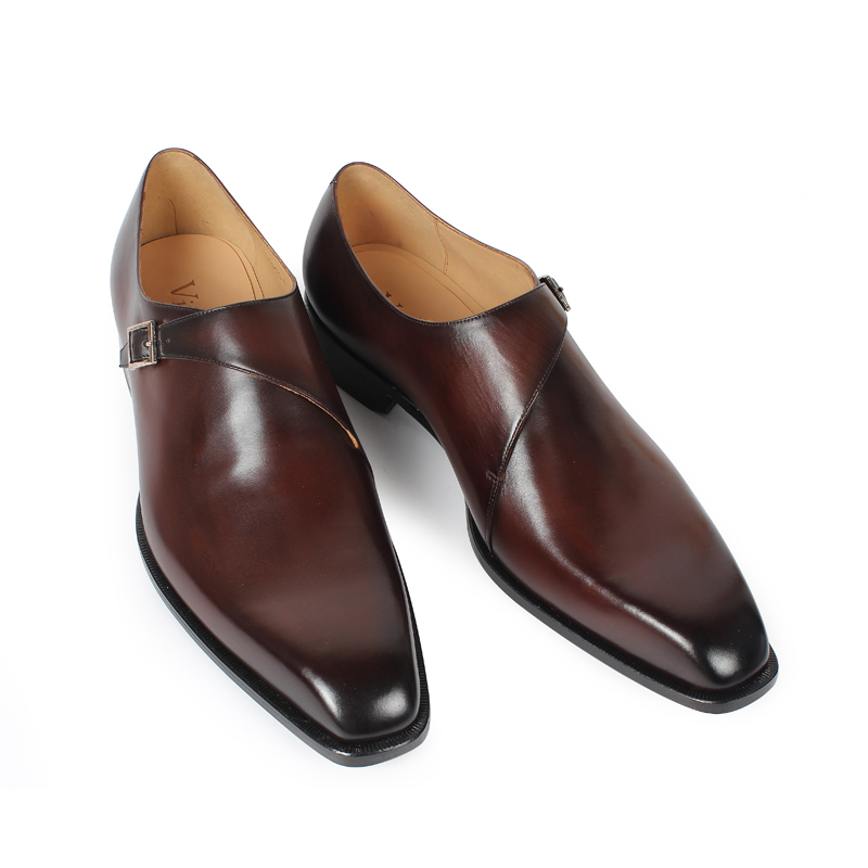 VIKEDUO 2019 Hot Genuine Leather Shoes For Men Wedding Office Dress Shoes Brown Patina Handmade Monk Strap Shoes Casual Footwear in Formal Shoes from Shoes