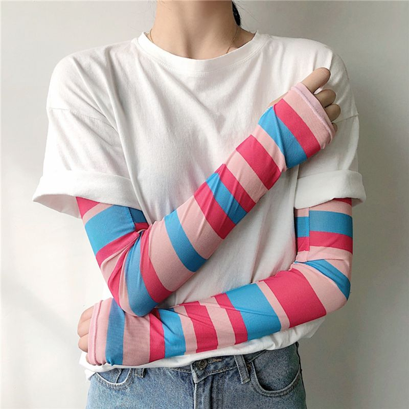 Women Girls Summer Ice Silk Arm Sleeves Cover Rainbow Colored Striped Harajuku Sun Protection Cooling Cycling Driving Gloves