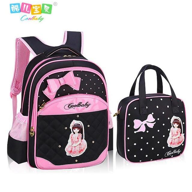 Hot Girl School Bags PU Leather Bag Korean Children School Bowknot  Backpacks 1- 6 Grade 842423cdcb81b