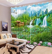 Custom 3D Photo Curtain nature landscape Curtains For The Living room Chinese Window Blackout 3D Window