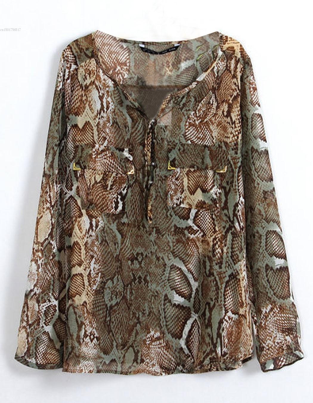 2014 Fashion Mother's See-through Sheer Tops Shirt Leopard Printed Chiffon Shirts Women Sexy Long-sleeve Blouses SV14