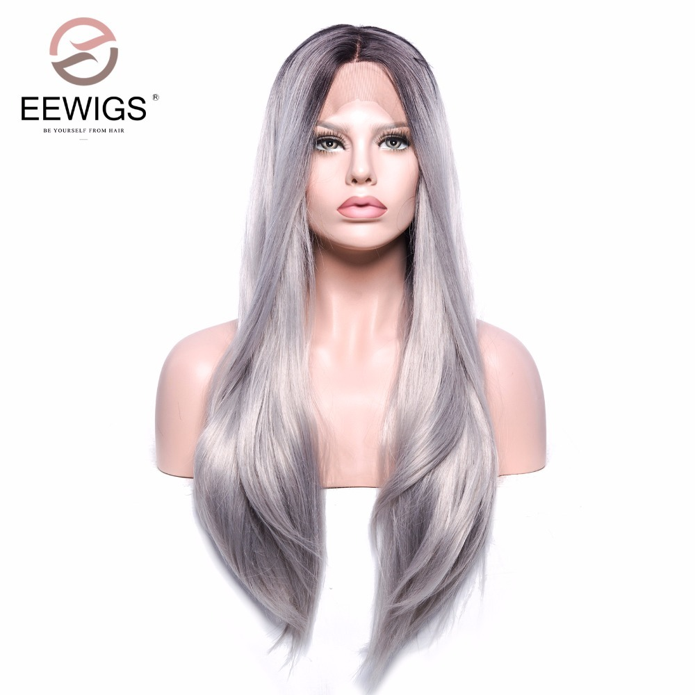 Synthetic Lace Front Wig Long Natural Straight Black Root Ombre Grey 2 Tones Silver Grey Replacement Hair Wig Half Hand Tied ...