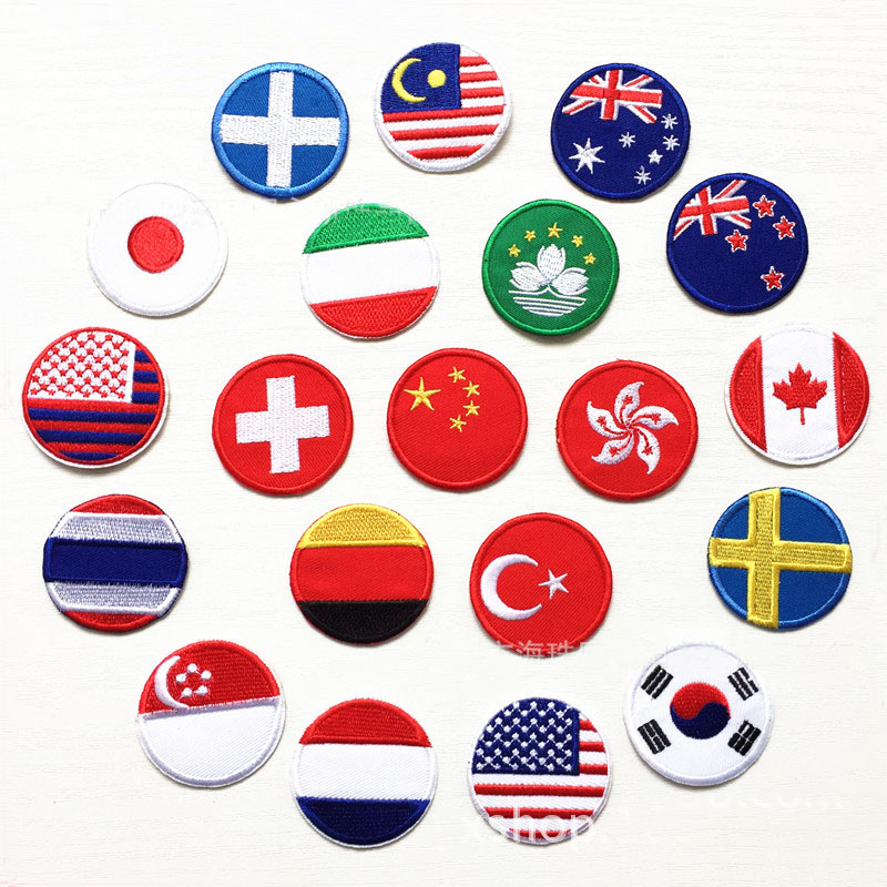 Countries Flags Full Embroidered Patches for Clothes Iron on Clothing US Germany Italy France Appliques Stripes Badge Sticker(China)